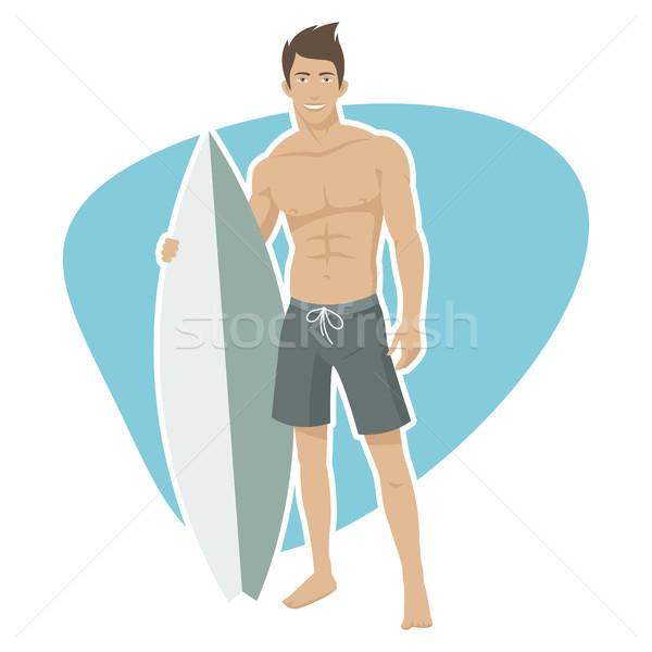 Fiatal fickó szörfös szörfdeszka illusztráció formátum Stock fotó © yuriytsirkunov