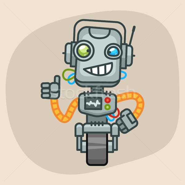 Robot Smiling and Showing Thumbs Up Stock photo © yuriytsirkunov