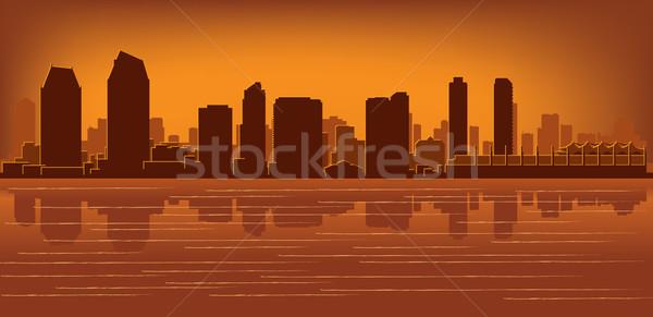 San Diego sziluett tükröződés víz égbolt épület Stock fotó © Yurkaimmortal