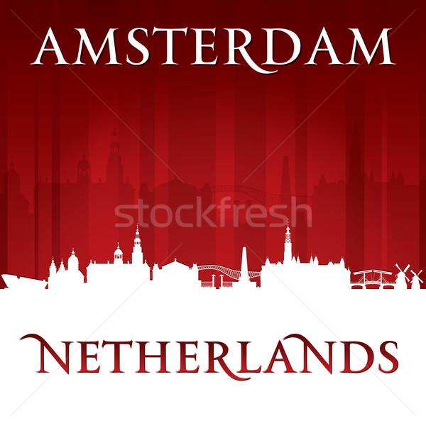 Amsterdam Netherlands city skyline silhouette red background  Stock photo © Yurkaimmortal