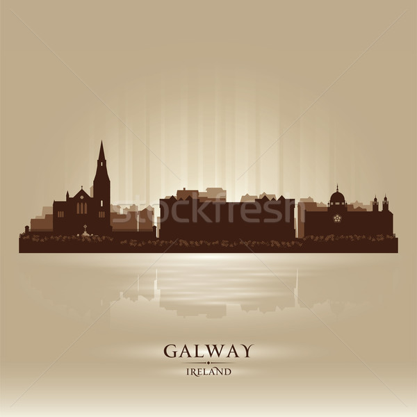 Stock fotó: Írország · sziluett · város · sziluett · égbolt · napfelkelte