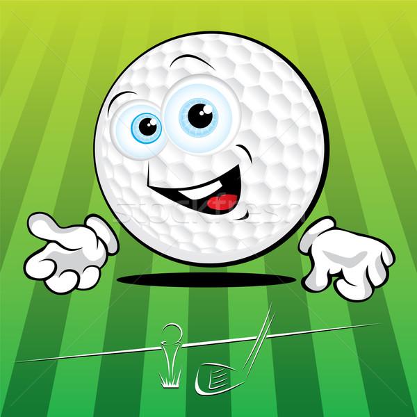 Funny pelota de golf sonriendo verde mano sonrisa Foto stock © Yurkaimmortal