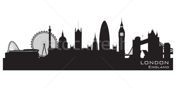 London, England skyline. Detailed vector silhouette Stock photo © Yurkaimmortal