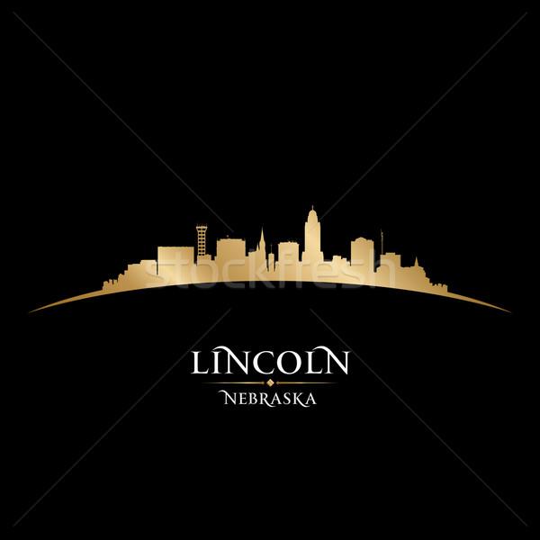 ネブラスカ州 市 シルエット 黒 空 ストックフォト © Yurkaimmortal