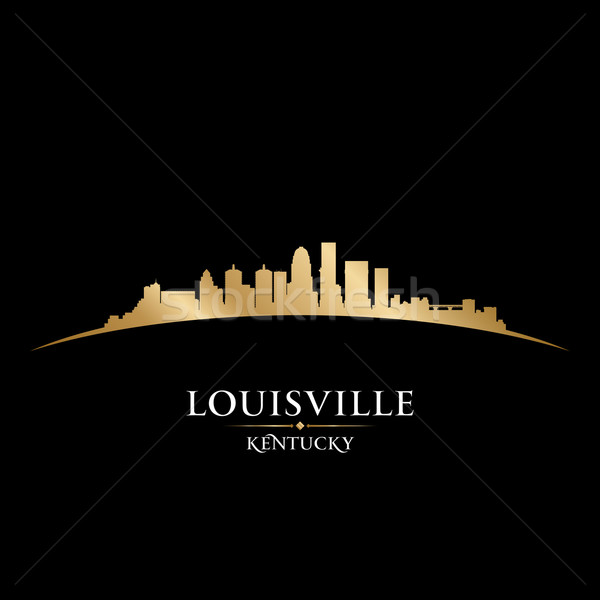 Stock photo: Louisville Kentucky city skyline silhouette black background