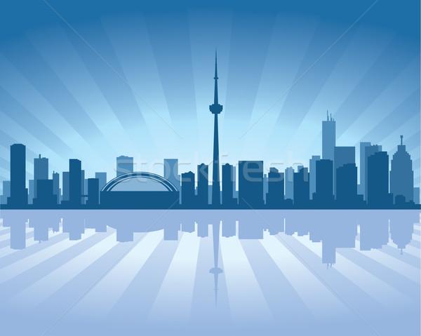 Toronto sziluett tükröződés víz égbolt épület Stock fotó © Yurkaimmortal