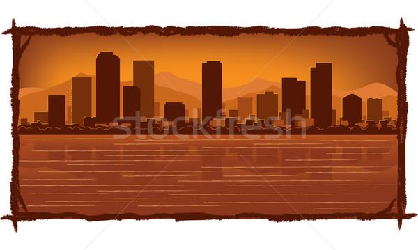 Horizonte reflexión agua cielo edificio ciudad Foto stock © Yurkaimmortal