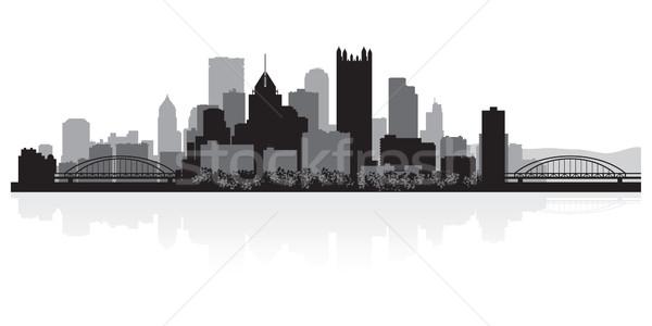 Silhouette USA affaires bâtiment fond Photo stock © Yurkaimmortal