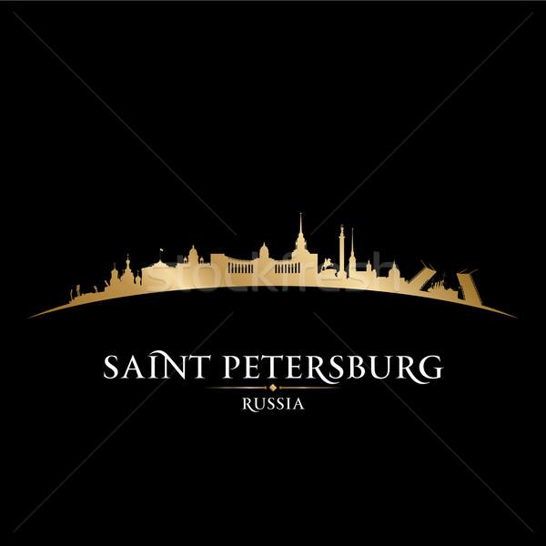 Szent Oroszország városkép sziluett fekete épület Stock fotó © Yurkaimmortal