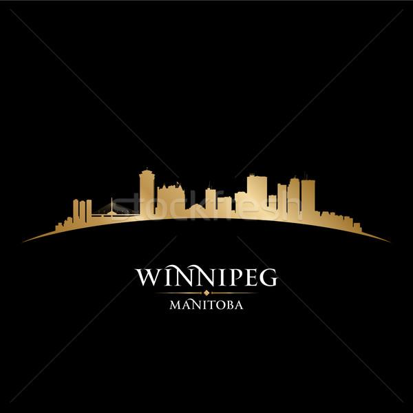 Winnipeg Manitoba Canada city skyline silhouette black backgroun Stock photo © Yurkaimmortal