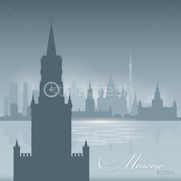 Moscow Russia skyline city silhouette background Stock photo © Yurkaimmortal