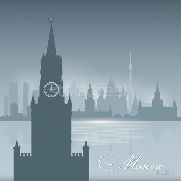 Moszkva Oroszország sziluett város sziluett égbolt Stock fotó © Yurkaimmortal