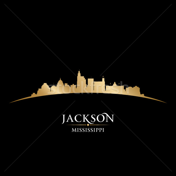 Jackson Mississippi city skyline silhouette black background  Stock photo © Yurkaimmortal