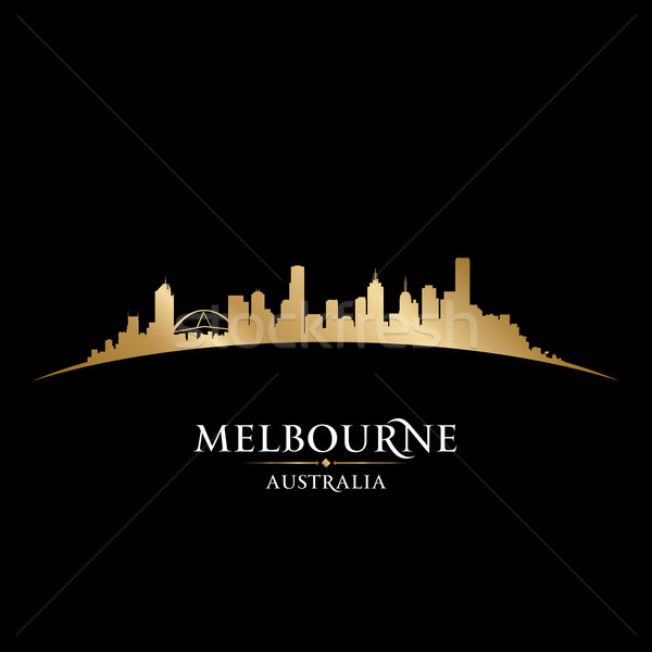 Melbourne Australia city skyline silhouette black background  Stock photo © Yurkaimmortal