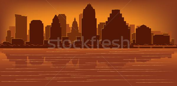 Austin Texas horizonte reflexión agua cielo Foto stock © Yurkaimmortal