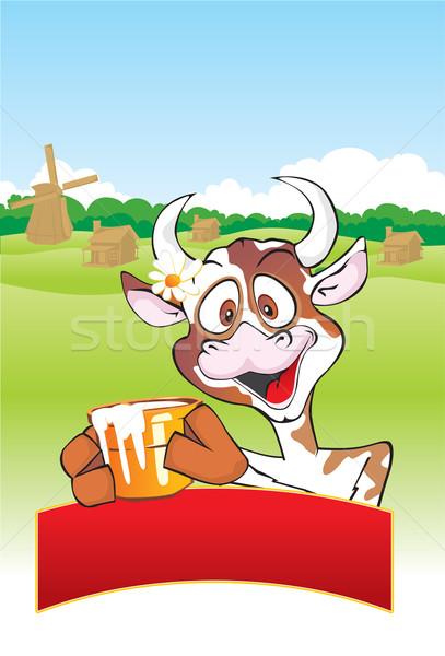 Vaca leche olla pueblo flor árbol Foto stock © Yurkaimmortal