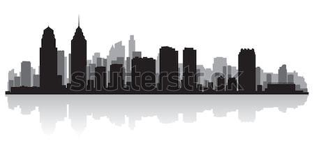 Kansas siluet şehir ABD ufuk çizgisi Stok fotoğraf © Yurkaimmortal