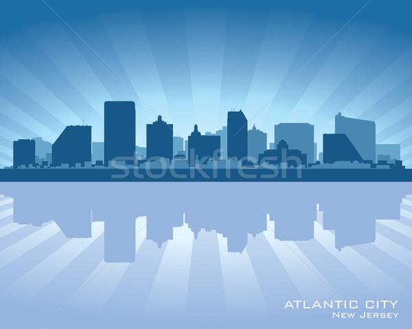 Ville New Jersey Skyline silhouette ciel coucher du soleil Photo stock © Yurkaimmortal
