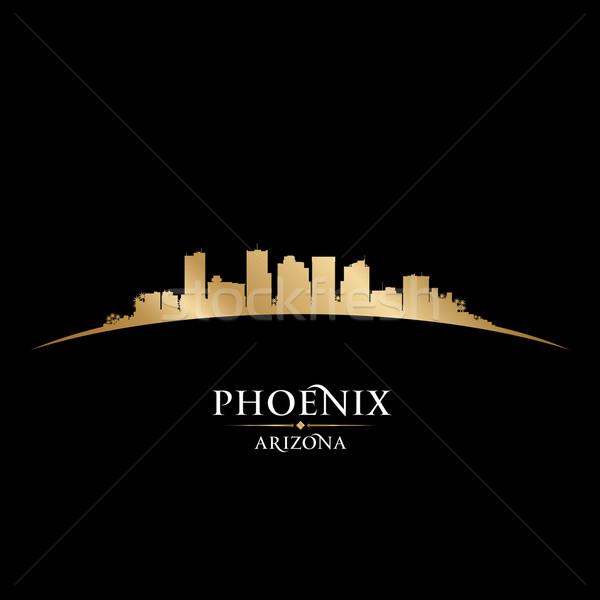 Phoenix Arizona városkép sziluett fekete égbolt Stock fotó © Yurkaimmortal