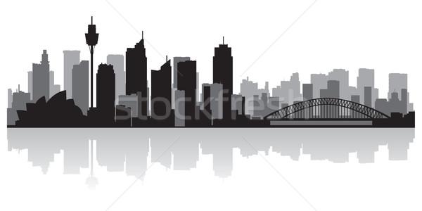 Sydney Ausztrália városkép vektor sziluett üzlet Stock fotó © Yurkaimmortal