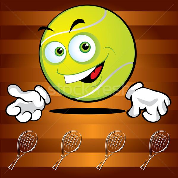 Grappig glimlachend tennisbal glimlach ogen achtergrond Stockfoto © Yurkaimmortal