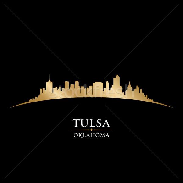 Oklahoma silhouet zwarte hemel gebouw Stockfoto © Yurkaimmortal