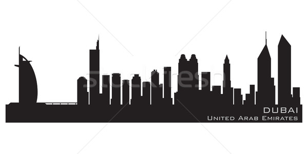 Dubaï Skyline détaillée vecteur silhouette ciel Photo stock © Yurkaimmortal
