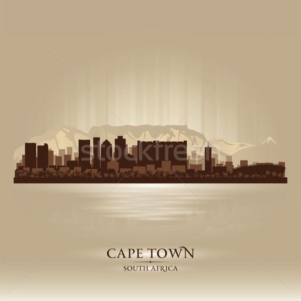 Cape Town South Africa skyline stad silhouet zonsondergang Stockfoto © Yurkaimmortal