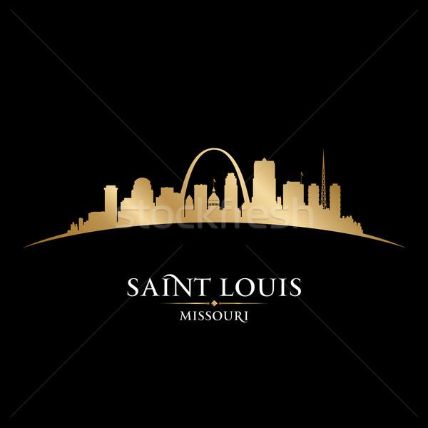 Szent Missouri város sziluett fekete városkép Stock fotó © Yurkaimmortal