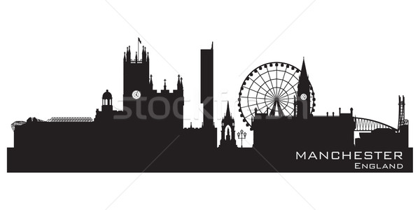 Manchester, England skyline. Detailed silhouette Stock photo © Yurkaimmortal