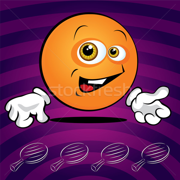Funny uśmiechnięty ping pong piłka fioletowy uśmiech Zdjęcia stock © Yurkaimmortal