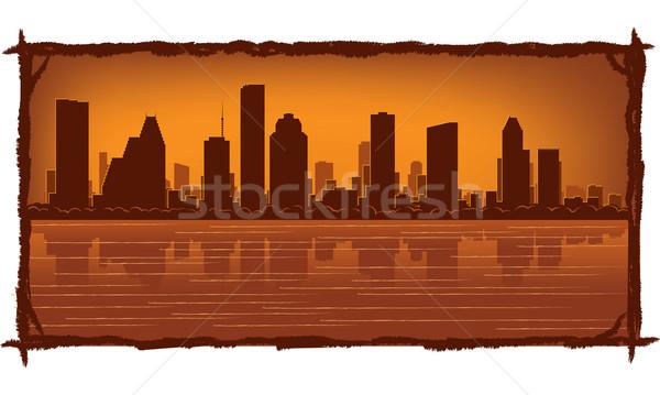 Хьюстон Skyline отражение воды небе здании Сток-фото © Yurkaimmortal
