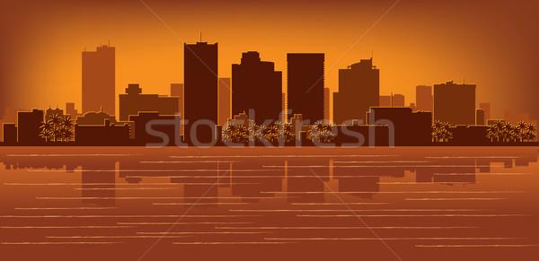 フェニックス アリゾナ州 スカイライン 反射 水 空 ストックフォト © Yurkaimmortal