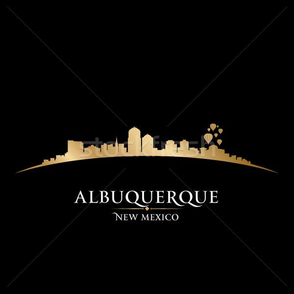 Új-Mexikó városkép sziluett fekete égbolt épület Stock fotó © Yurkaimmortal