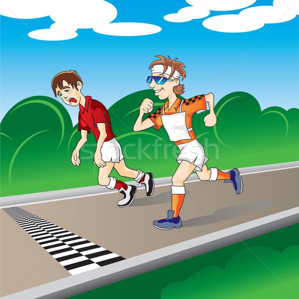 マラソン ランナー 仕上げ 雲 男性 緑 ストックフォト © Yurkaimmortal