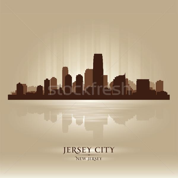 Stock fotó: Város · New · Jersey · sziluett · sziluett · naplemente · építészet