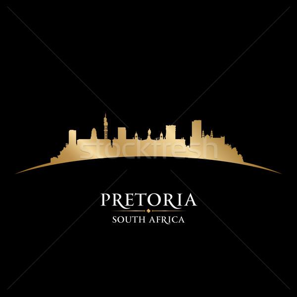 Dél-Afrika városkép sziluett fekete épület város Stock fotó © Yurkaimmortal