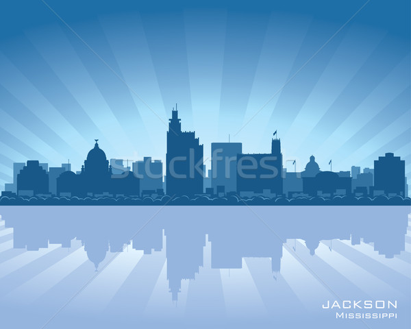 Сток-фото: Миссисипи · Skyline · иллюстрация · отражение · воды · небе