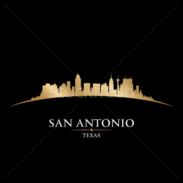 San Antonio Texas city skyline silhouette black background  Stock photo © Yurkaimmortal