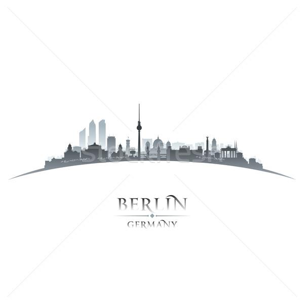 Berlin Németország városkép sziluett fehér égbolt Stock fotó © Yurkaimmortal