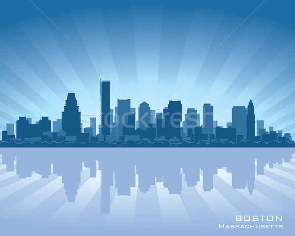 Boston skyline Massachusetts illustratie reflectie water Stockfoto © Yurkaimmortal