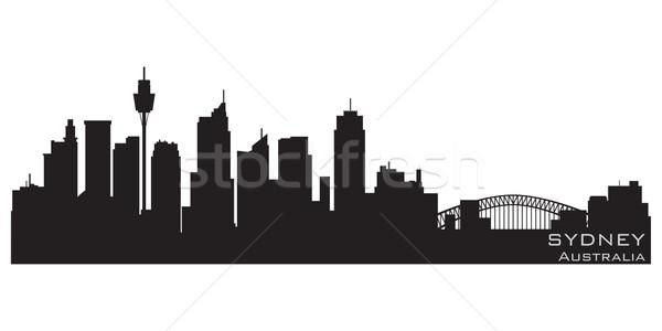 Sydney Australia horizonte detallado vector silueta Foto stock © Yurkaimmortal