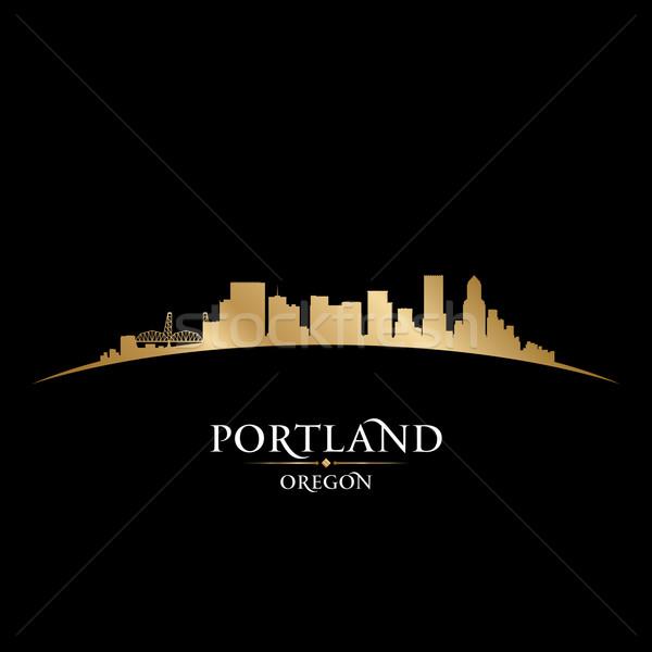 Portland Oregon city skyline silhouette black background  Stock photo © Yurkaimmortal