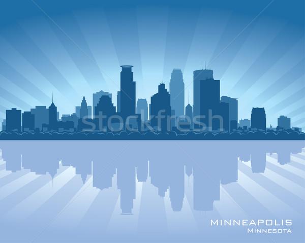Minnesota linha do horizonte reflexão água céu edifício Foto stock © Yurkaimmortal