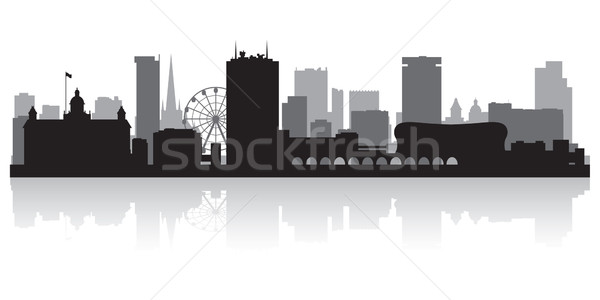 Birmingham városkép sziluett üzlet épület háttér Stock fotó © Yurkaimmortal