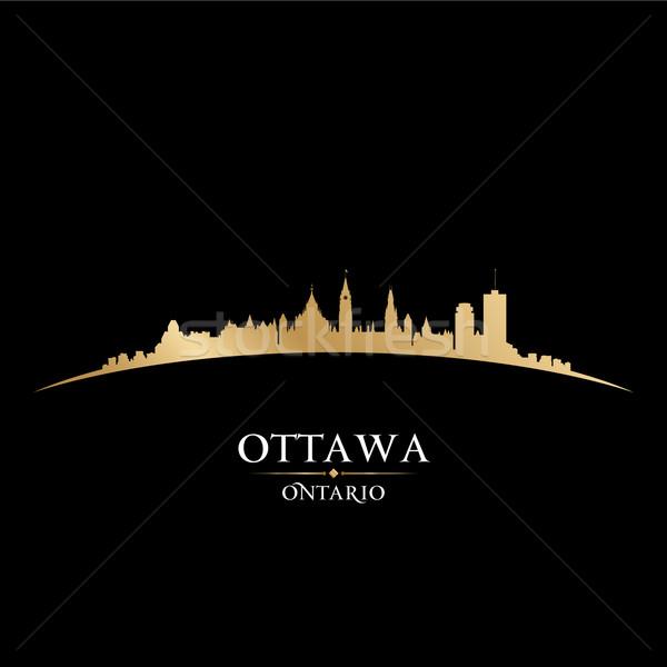 Ottawa Ontario Kanada városkép sziluett fekete Stock fotó © Yurkaimmortal