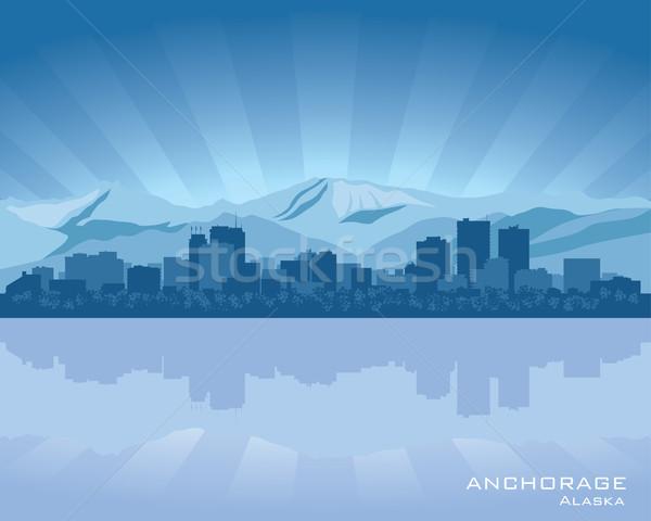 Аляска Skyline иллюстрация отражение воды небе Сток-фото © Yurkaimmortal