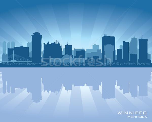 Canadá horizonte silueta ciudad cielo puesta de sol Foto stock © Yurkaimmortal