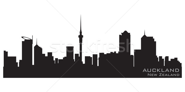 New Zealand skyline gedetailleerd vector silhouet hemel Stockfoto © Yurkaimmortal