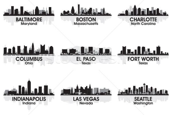 Amerikai városok sziluett szett égbolt épület Stock fotó © Yurkaimmortal
